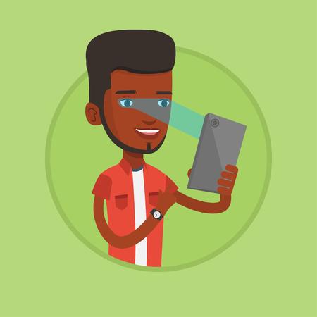 retina: Man using iris scanner to unlock his mobile phone.