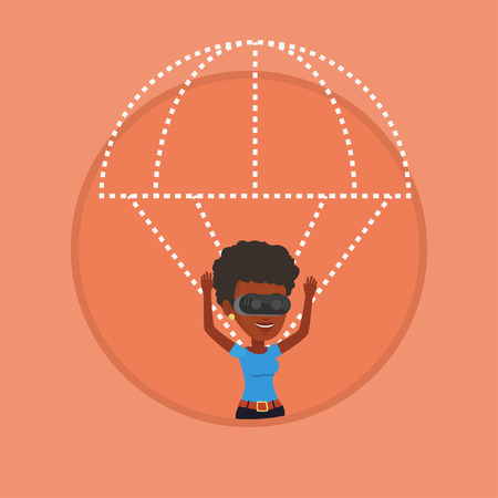 Happy woman in vr headset flying with parachute.