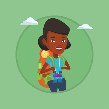 adventurer: Cheerful traveler with backpack.