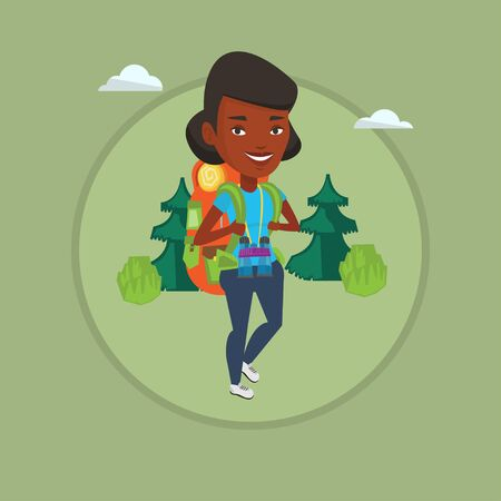 Woman with backpack hiking vector illustration.