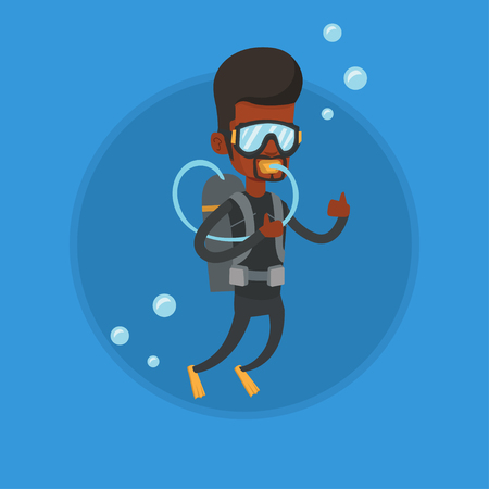 Man diving with scuba and showing ok sign.