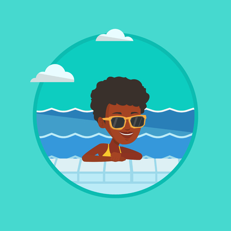 swimming glasses: Woman relaxing in swimming pool at resort. Woman bathing in swimming pool. Woman swimming and relaxing in pool on summer vacation.