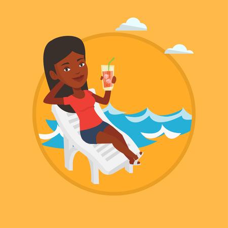 African woman sitting on a beach chair. Woman drinking a cocktail on a beach chair.