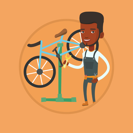 African-american technician working in bike workshop. Technician fixing bicycle in repair shop. Bicycle mechanic repairing bicycle. Vector flat design illustration in the circle isolated on background
