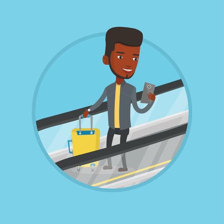 아프리카 사업가 에스컬레이터에 공항에서 스마트 폰을 사용합니다. 가방 에스컬레이터에 서 서 휴대 전화를 찾고 남자.