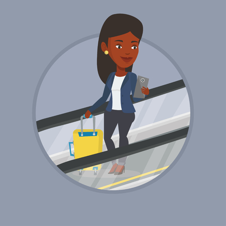 Business woman using smartphone on escalator in airport.