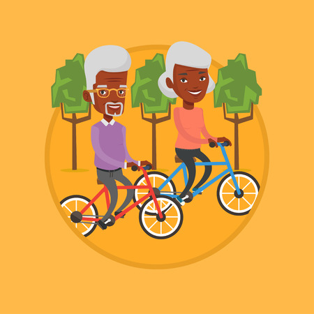 Senior african-american couple riding on bicycles in the park. Retired couple biking. Illustration