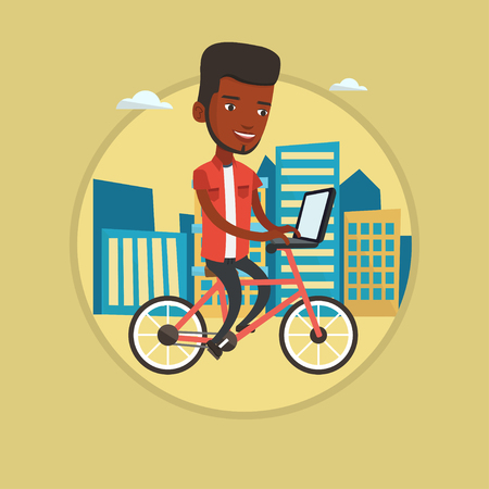 African-american man riding a bike to work. Cyclist riding bike in the city.