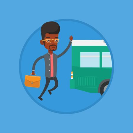 African man running for outgoing bus. Businessman running to catch bus. Man chasing a bus.