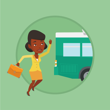 African-american woman running for an outgoing bus. Young woman running to catch bus.