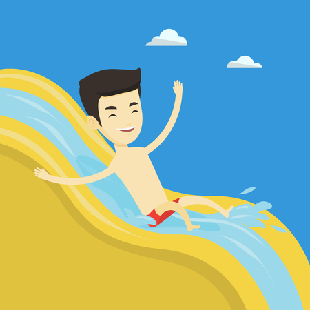 Young asian man riding down a waterslide at the aquapark. Cheerful man having fun on a water slide in waterpark. Man going down a water slide. Vector flat design illustration. Square layout. Illustration