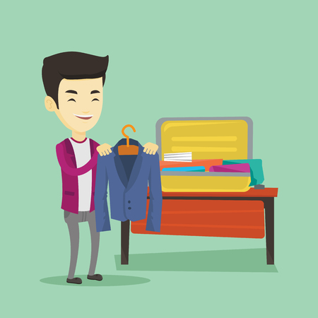 put: Smiling asian business man putting a suit into a suitcase. Young business man packing his clothes in an opened suitcase. Illustration