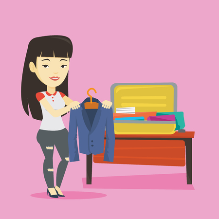 Young woman packing suitcase vector illustration