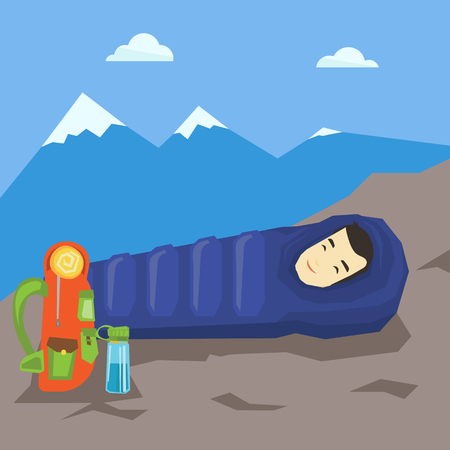 sleeping bags: Man sleeping in sleeping bag in the mountains. Illustration