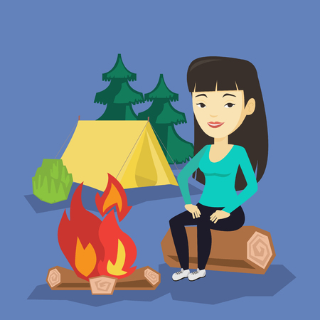Asian travelling woman sitting near a campfire at a campsite. Young travelling woman sitting on a log near a campfire. Tourist relaxing near campfire. Vector flat design illustration. Square layout.