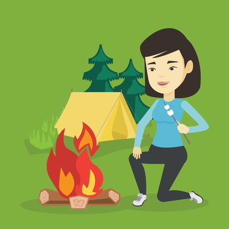Woman sitting near campfire with marshmallow. Woman roasting marshmallow over campfire. Tourist relaxing near campfire on the background of camping site. Vector flat design illustration. Square layout