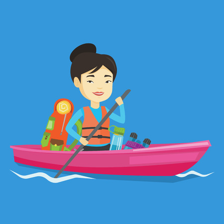 Cheerful asian woman traveling by kayak. Young traveling woman riding in a kayak on the river with skull in hands and some tourist equipment behind her. Vector flat design illustration. Square layout.