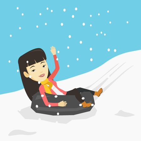 Woman having fun while sledding on snow rubber tube. Woman riding on snow rubber tube. Girl sitting in snow rubber tube. Winter leisure activity concept. Vector flat design illustration. Square layout