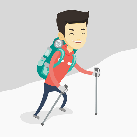 Young mountaneer climbing a snowy ridge. Illustration
