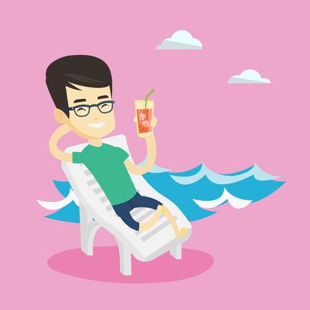 longue: Man relaxing on beach chair vector illustration.