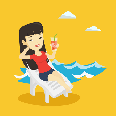 sunbath: Woman relaxing on beach chair vector illustration.