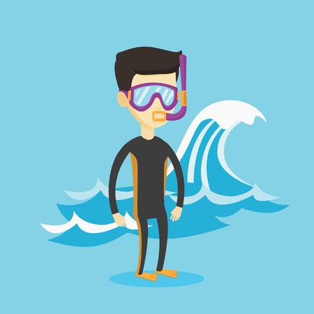 Young scuba diver vector illustration. Stock Illustratie