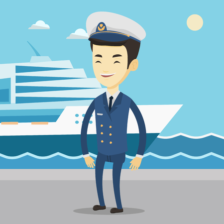Smiling ship captain in uniform at the port. 向量圖像