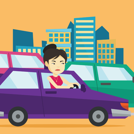 road rage: Angry asian woman in car stuck in traffic jam. Illustration