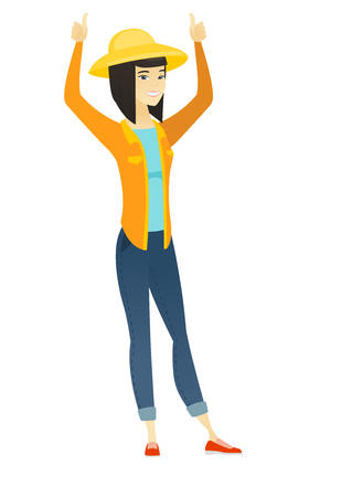 Farmer standing with raised arms up. Illustration