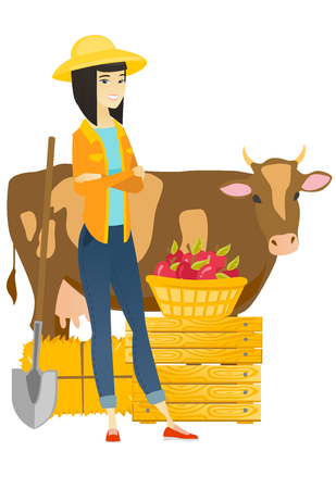 Farmer standing with crossed arms near cow. Illustration