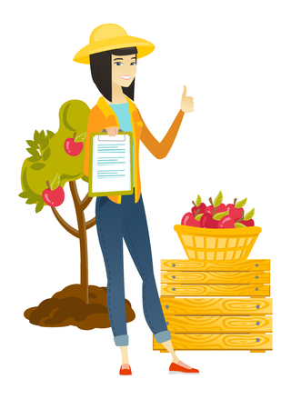 Farmer with clipboard giving thumb up. Illustration