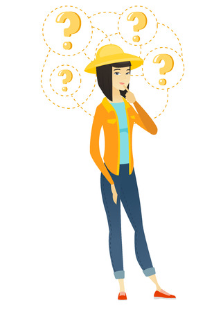 Thinking farmer with question marks. Vectores