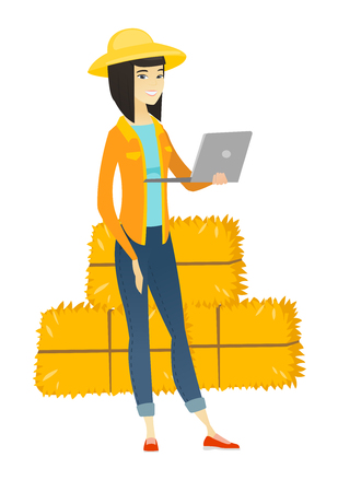 Farmer using laptop vector illustration. Illustration