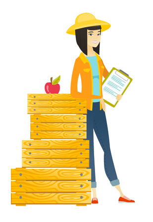 Farmer holding clipboard with documents. Illustration