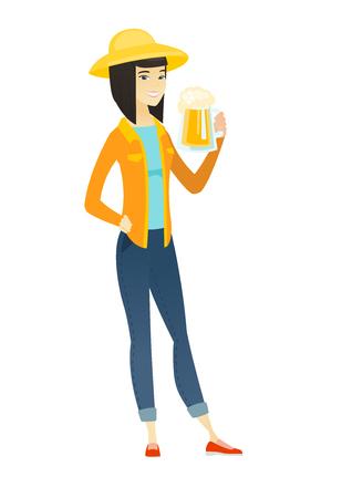 Farmer drinking beer vector illustration. Vectores
