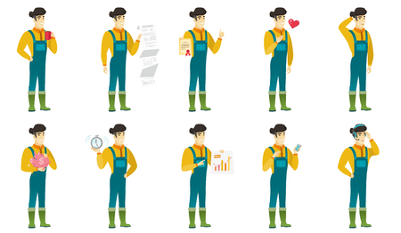 Vector set of illustrations with farmer characters Illustration