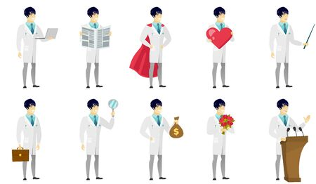 asian man laptop: Vector set of illustrations with doctor characters