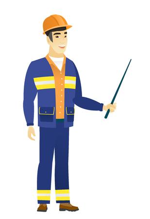 Asian builder holding pointer stick.