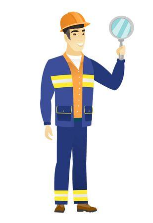 Asian builder holding hand mirror. Illustration