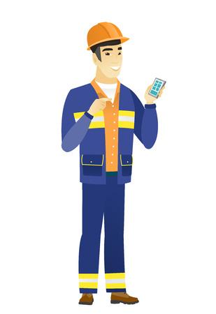 Asian builder holding a mobile phone. Illustration