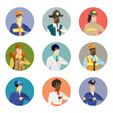 Vector set of characters of different professions.