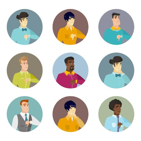 disagree: Vector set of business characters in the circle.