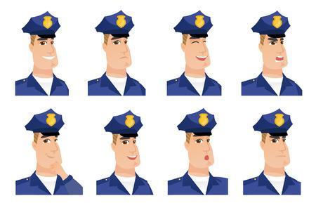 Ensemble vectoriel de personnages de police.