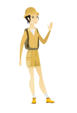 HI: Young asian traveler waving her hand. Full length of female traveler waving her hand. Illustration