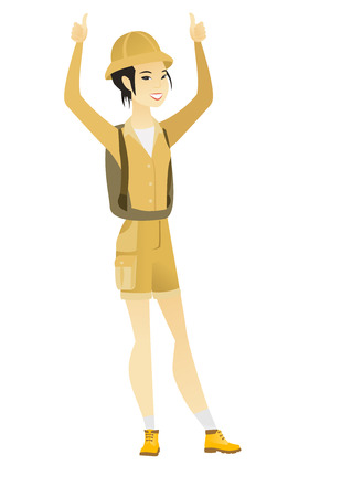 Successful young asian traveler standing with raised arms up. Successful female traveler giving thumbs up. Traveler celebrating success. Vector flat design illustration isolated on white background. Vectores