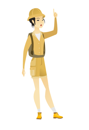 came: Excited asian traveler with open mouth pointing finger up. Full length of young traveler with open mouth came up with successful idea. Vector flat design illustration isolated on white background.