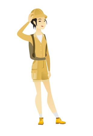 Young asian traveler scratching head.