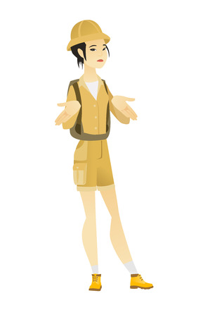 Confused asian traveler shrugging her shoulders. Full length of young. Illustration