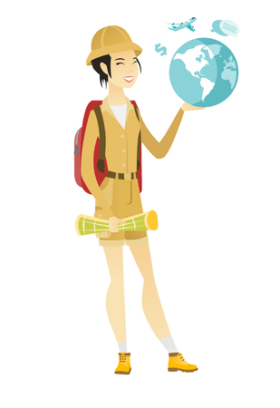 flat earth: Asian traveler woman holding map and globe.