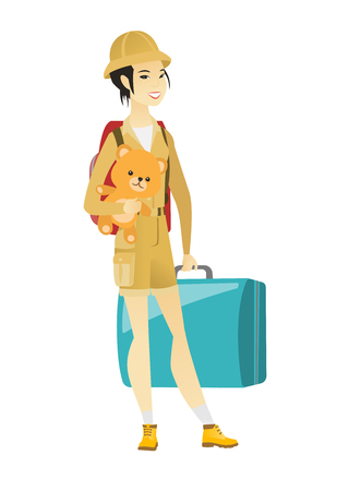 Woman traveling with old suitcase and teddy bear.